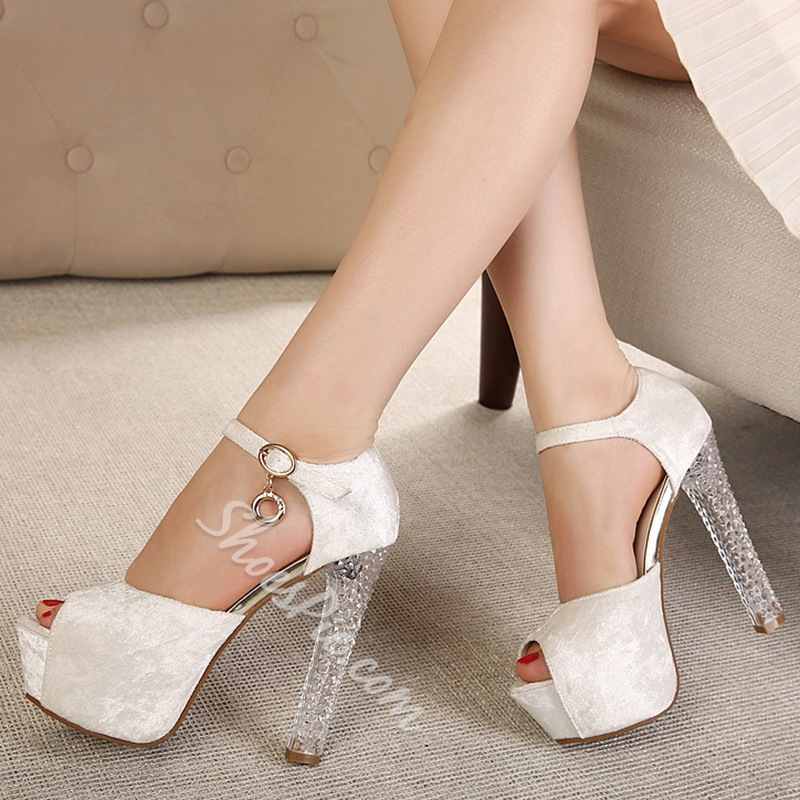 Shoespie Simply Ankle Wrap Peep Toe Platform Heels