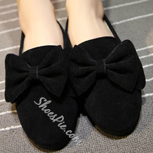 Sweet Solid Color Bowknot Decorated Flats