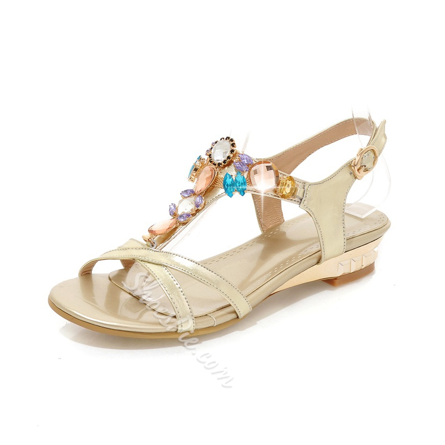 Shoespie Golden Color Rhinestone Dress Sandals