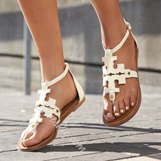 Shoespie White Geometric Cut Flat Sandals