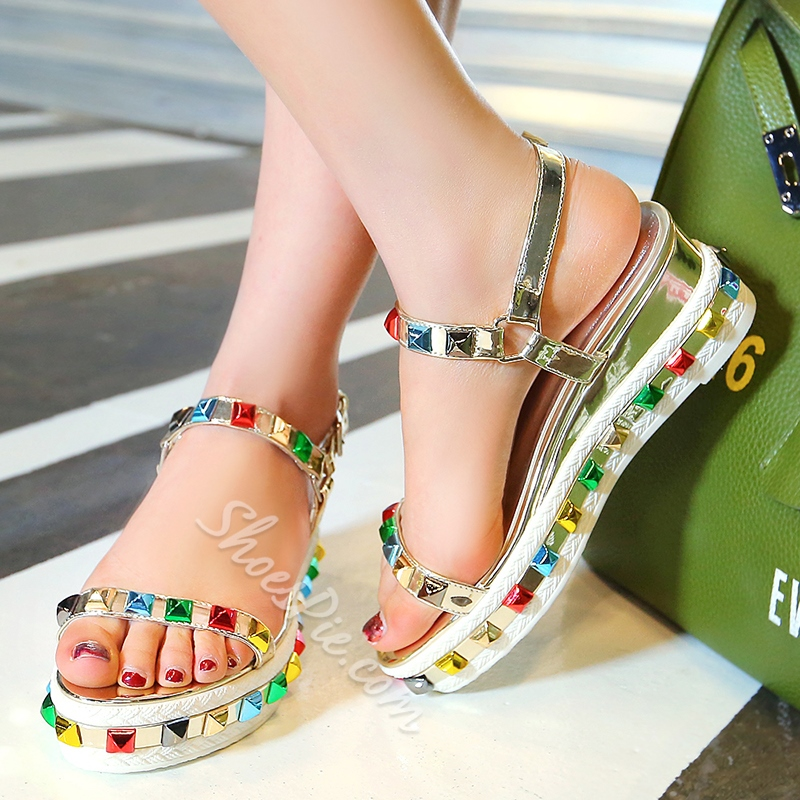Shoespie Chic Colorful Rhinestone Flat Sandals