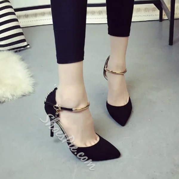 Shoespie Chic Studed Ankle Wrap Stiletto Heels