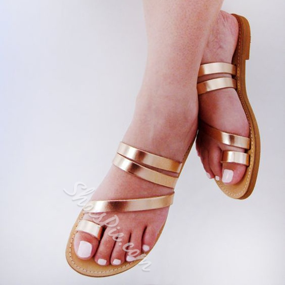 Shoespie Golden Strappy Clip Toe Mules