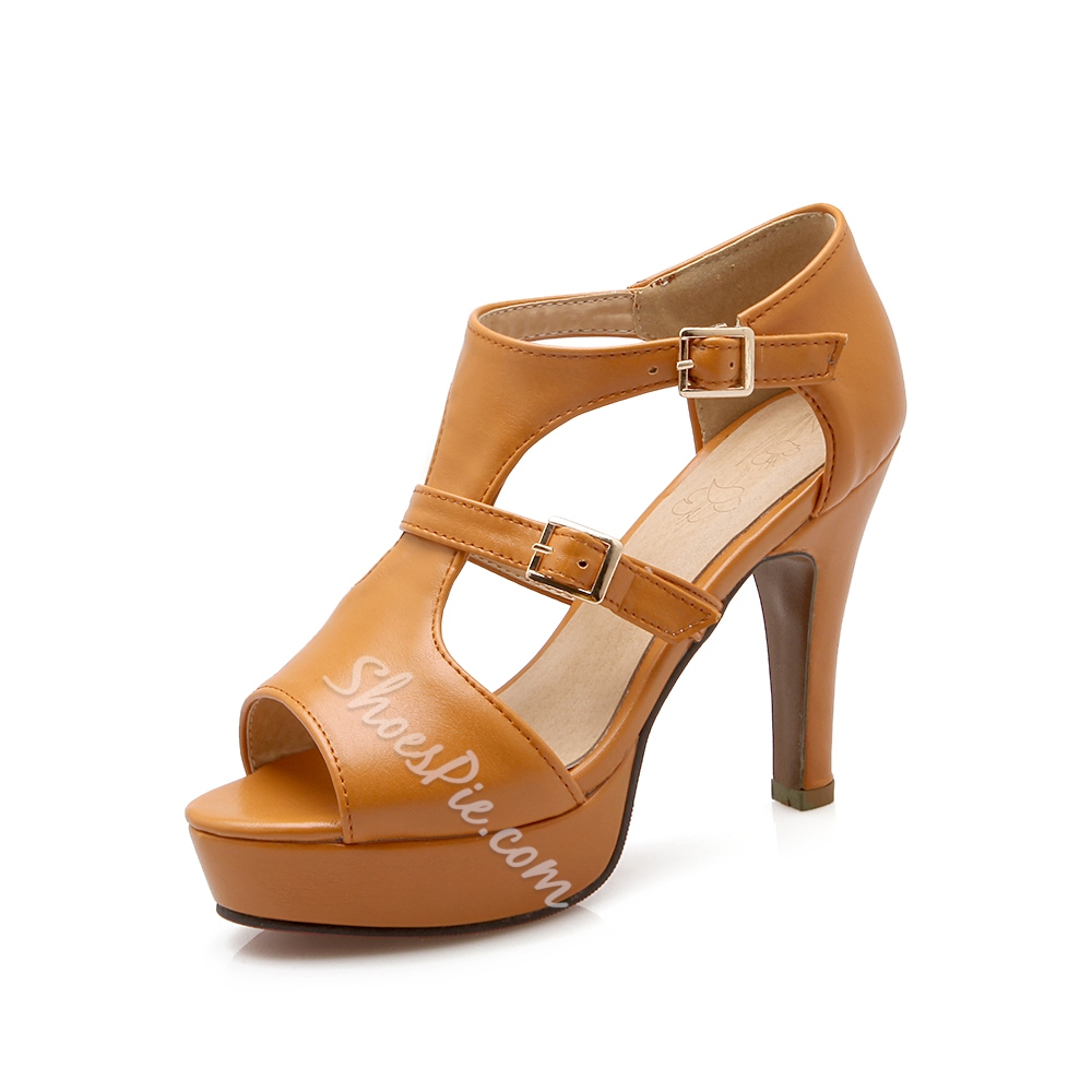 Shoespie Buckled Peep Toe Platform Sandals