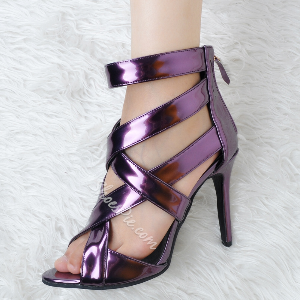Shoespie Purple Back Zipped Sandals
