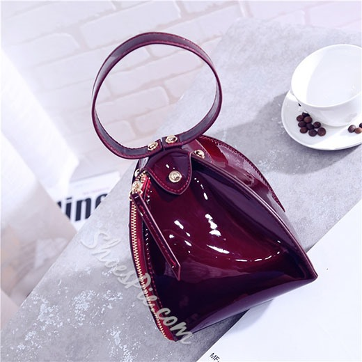 Shoespie Elegant Patent Leather Cone Shape Tote Bag