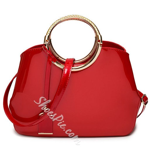 Shoespie Elegant Patent Leather Tote Bag