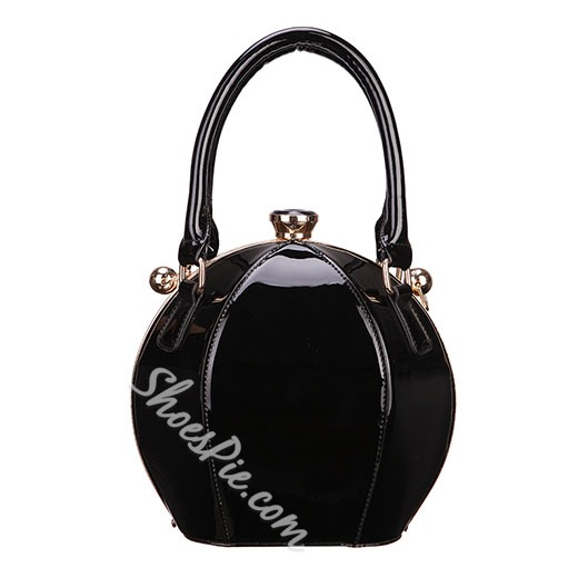 Shoespie Chic Patent Leather Bucket Bag