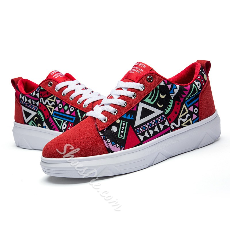 Shoespie Red Geometric Print Men Sneakers