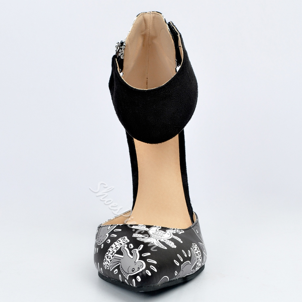 Shoespie Chic Black Printed Ankle Wrap Stiletto Heels