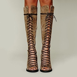 Retro Cut-outs Lace-up Knee High Boots