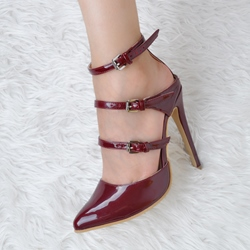 Shoespie Chic Burgundy Stripes Stiletto Heels
