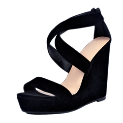 Shoespie Black Cross Strap Wedge Sandals