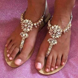 Shoespie Champagne Rhinestones Flat Sandals