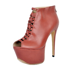 Shoespie Chic Burgundy Peep Toe High Upper Platform Heel Ankle Boots