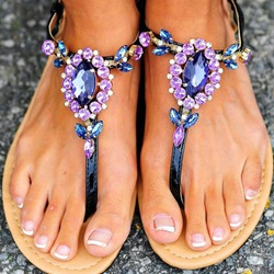 Shoespie Purple Rhinestones Thong Flat Sandals