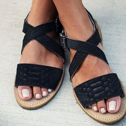 Shoespie Black Scaly Print Flat Sandals