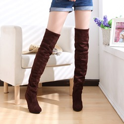 Shoespie Simply Suede Stiletto Heel Knee High Boots