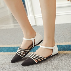 Shoespie Chic Black Beaded Ankle Wrap Loafers