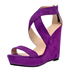 Shoespie Purple Wedge Sandals