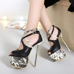 Shoespie Black Contrast Color Peep Toe Platform Heels