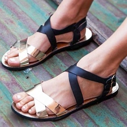 Shoespie Black and Golden Flat Sandals