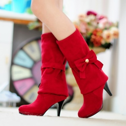 Shoespie Sweet Bowtie Low Heel Knee High Boots