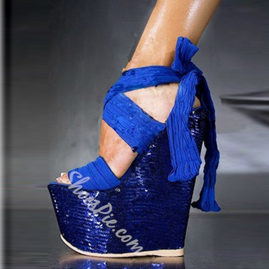 Shoespie Sexy Blue Super High Wedge Sandals