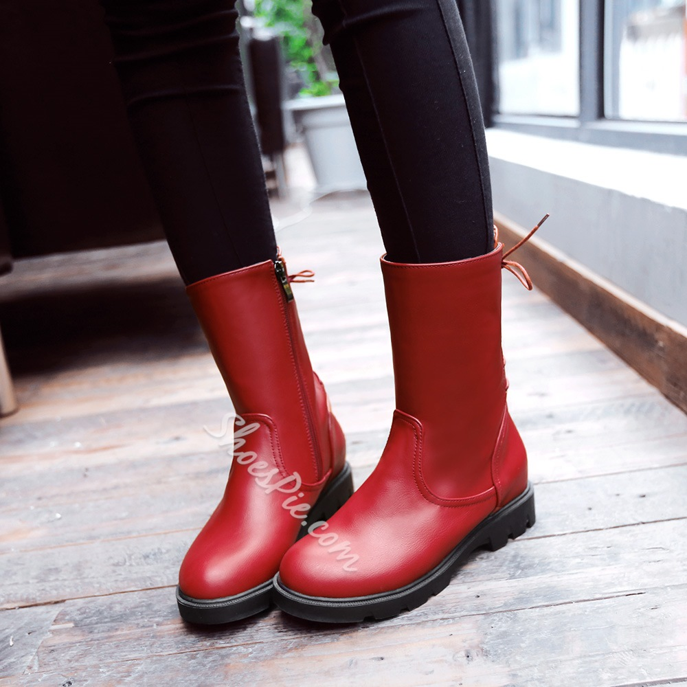 Shoespie Chic Solid Color Flat Boots