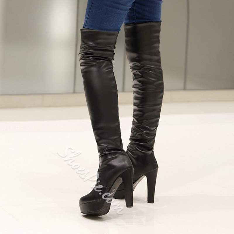 purchase cheap professional sale best price Shoespie Solid Color Platform Chunky Heel Thigh High Boots ...