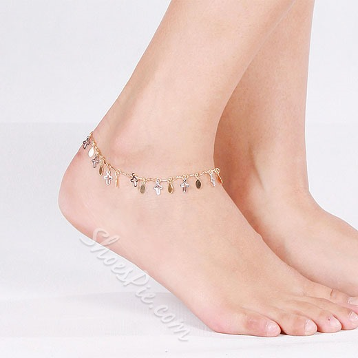Shoespie Sequined Cross Embellished Anklet(Single)