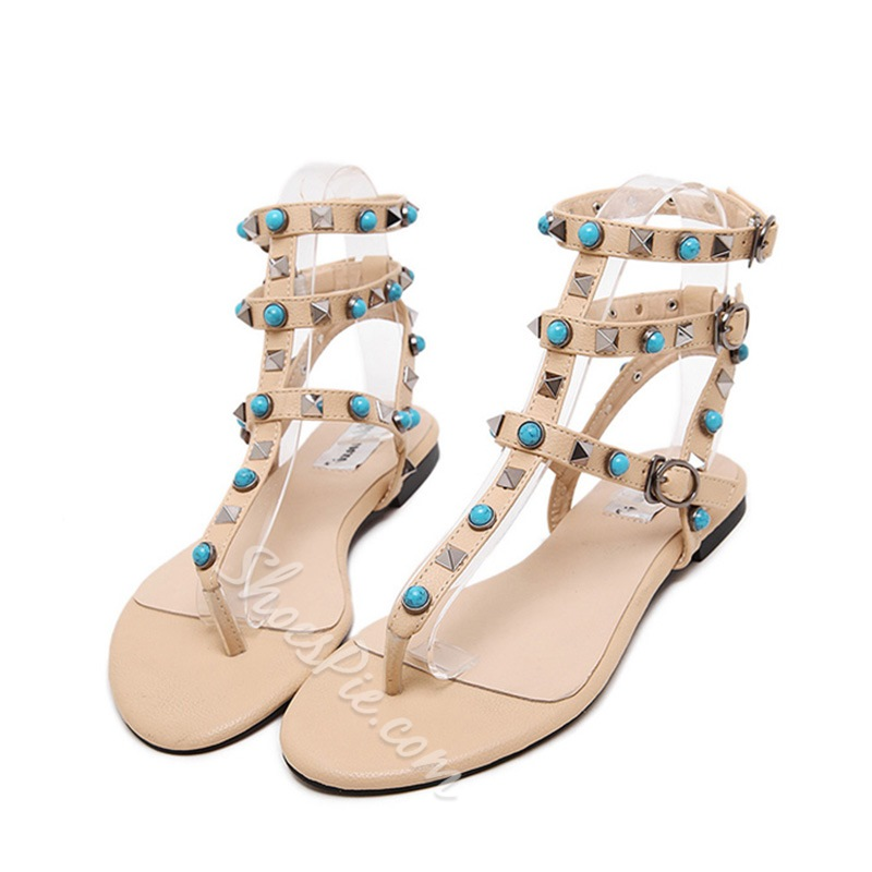 Shoespie Stones and Buds Flat Sandals