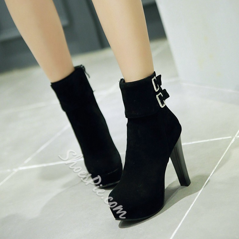 Shoespie Chic Solid Color Ankle Boots
