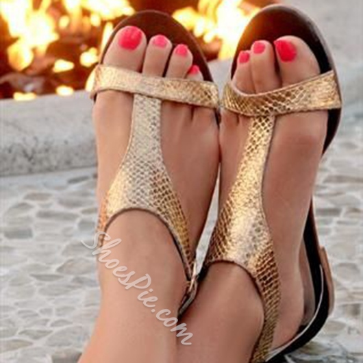Shoespie Golden T Strap Flat Sandals