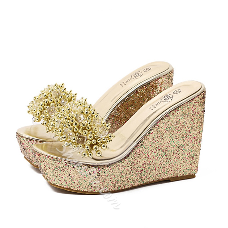 Shoespie Beading Wedge Mules