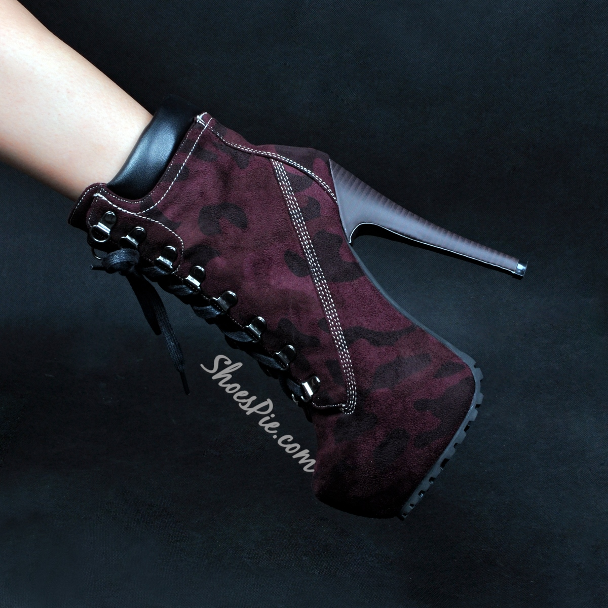 Shoespie Army Print Lace Up Sky High Ankle Boots