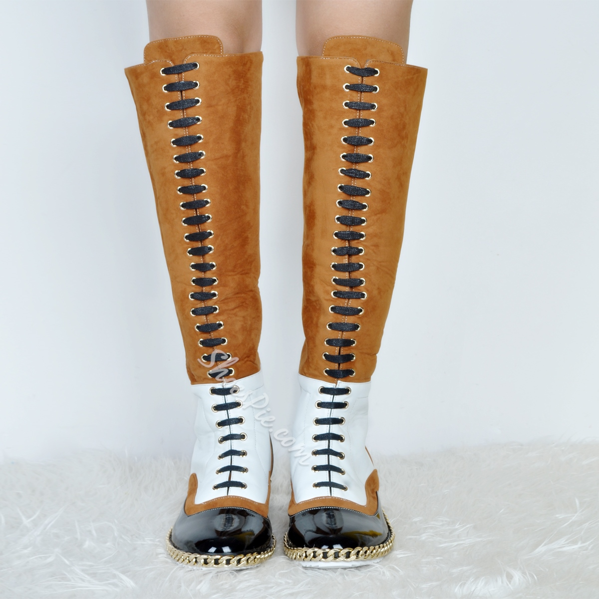 Shoespie Pre-fall Contrast Color Knee High Boots