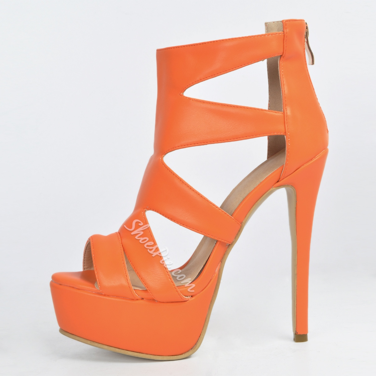 Shoespie Orange Platform Sandals