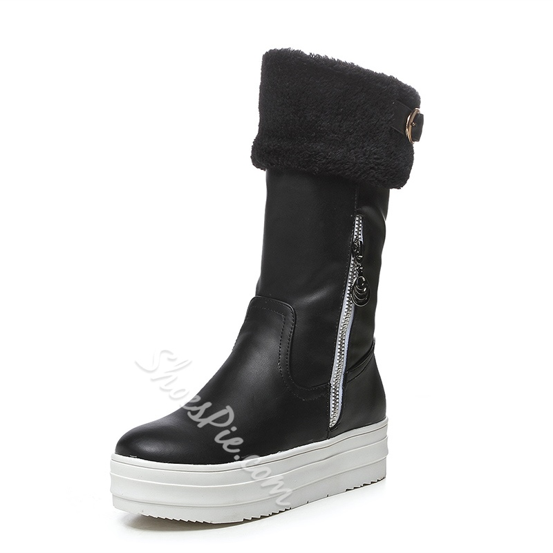 Shoespie Warm Furry Platform Flat Heel Snow Boots