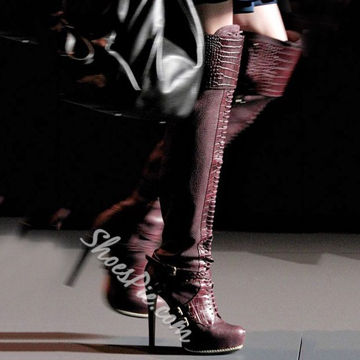 Glamorous Buckle Decorated Over Knee High Boots