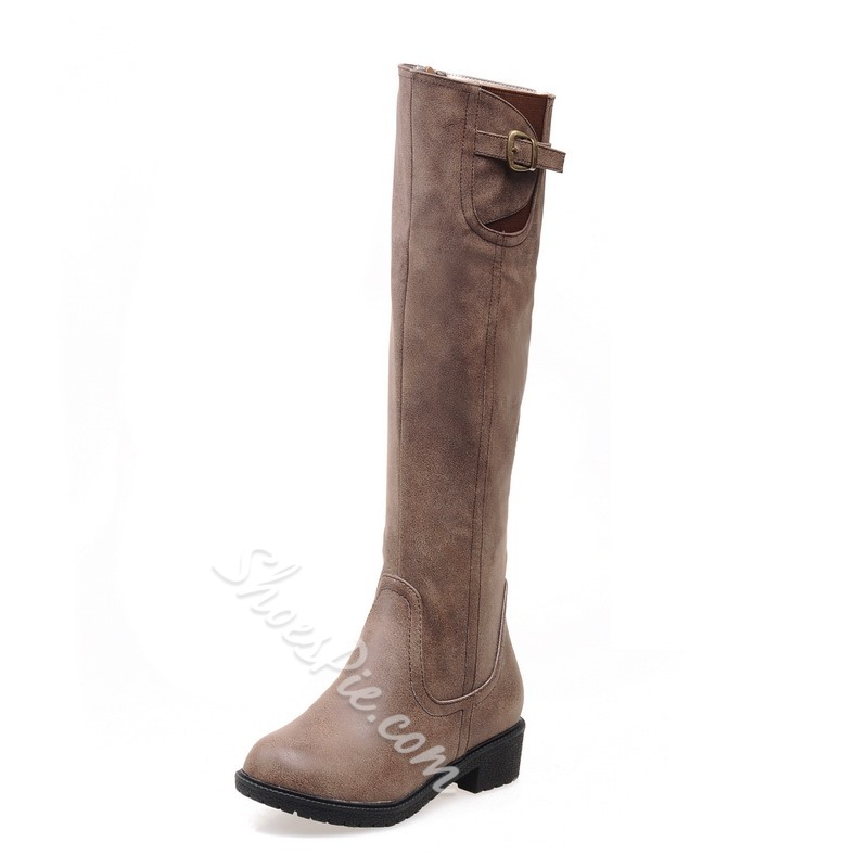 Shoespie Chic Solid Color Flat Knee High Boots