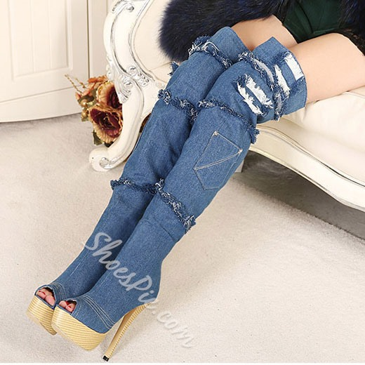 Stylish Peep-toe Denim Knee High Boots