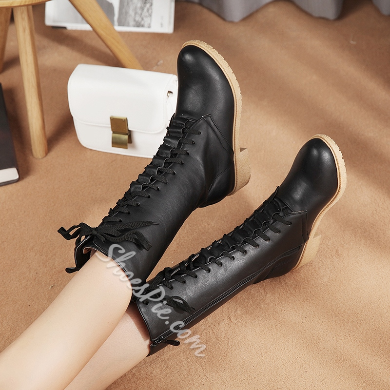 Shoespie Round Toe Lace Up Martin Boots
