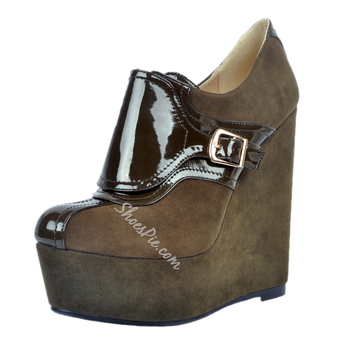 Shoespie Army Green Patchwork Wedge Heel Ankle Boots