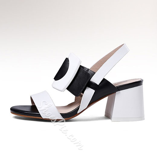 Shoespie Punk Style Contrast Color Chunky Heel Sandals