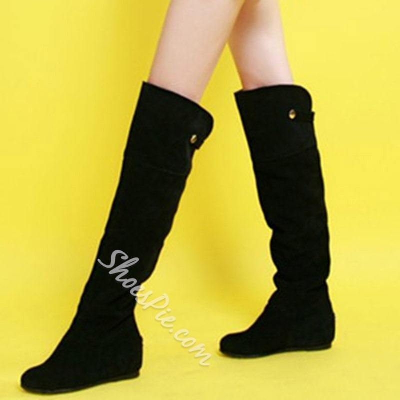 Shoespie Soft Suede Knee High Flat Boots