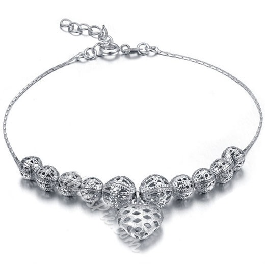 Shoespie Sliver Heart Hollow Out Anklet (Single)