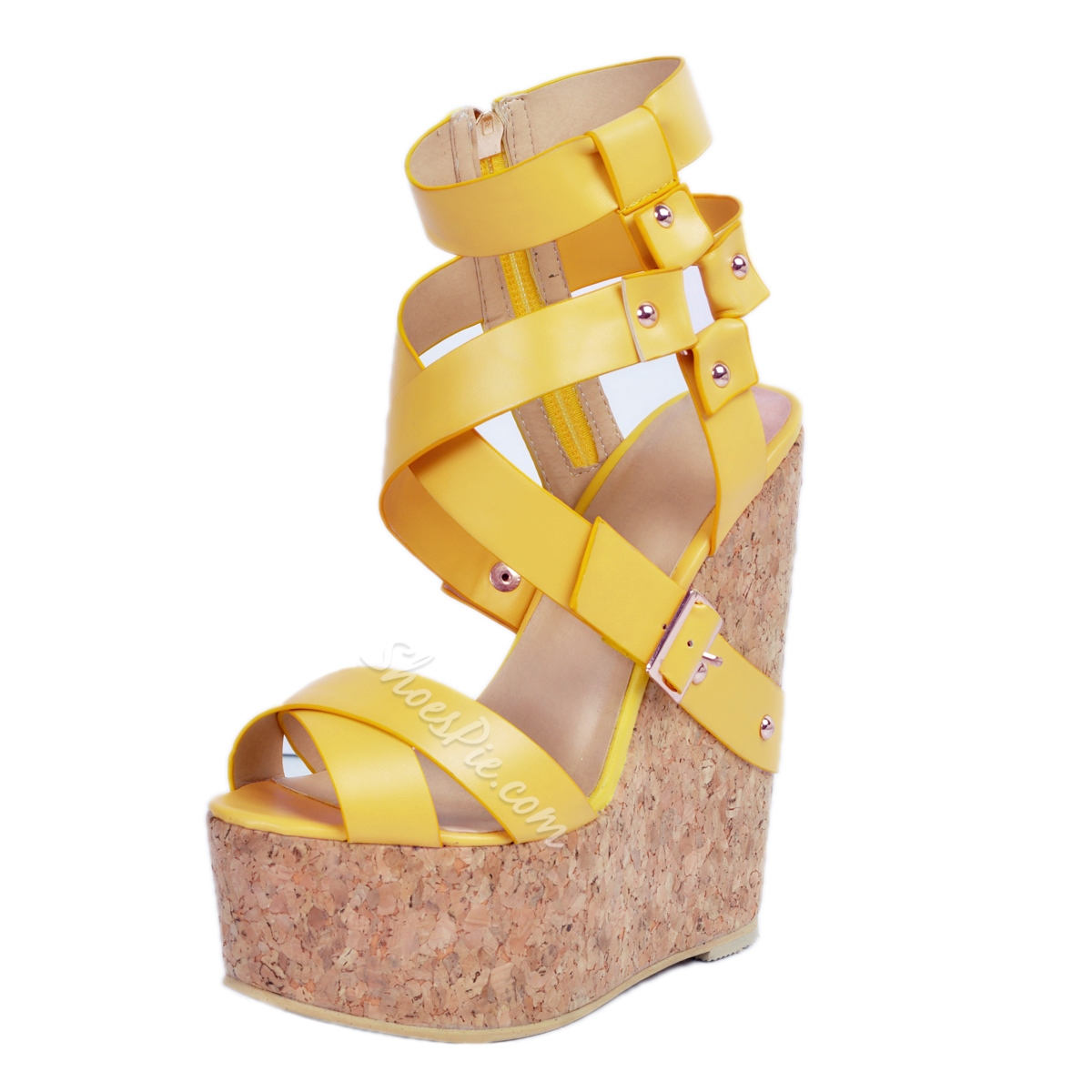 Shoespie Yellow Strappy Wedge Sandals