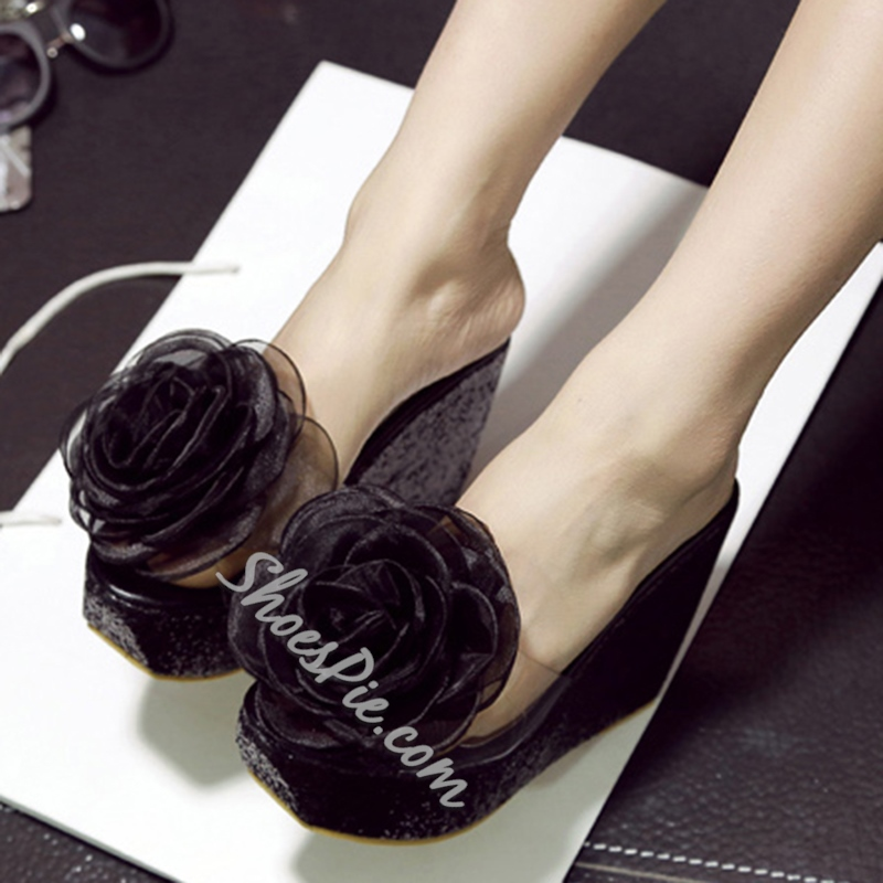 Shoespie Flowers Wedge Mules
