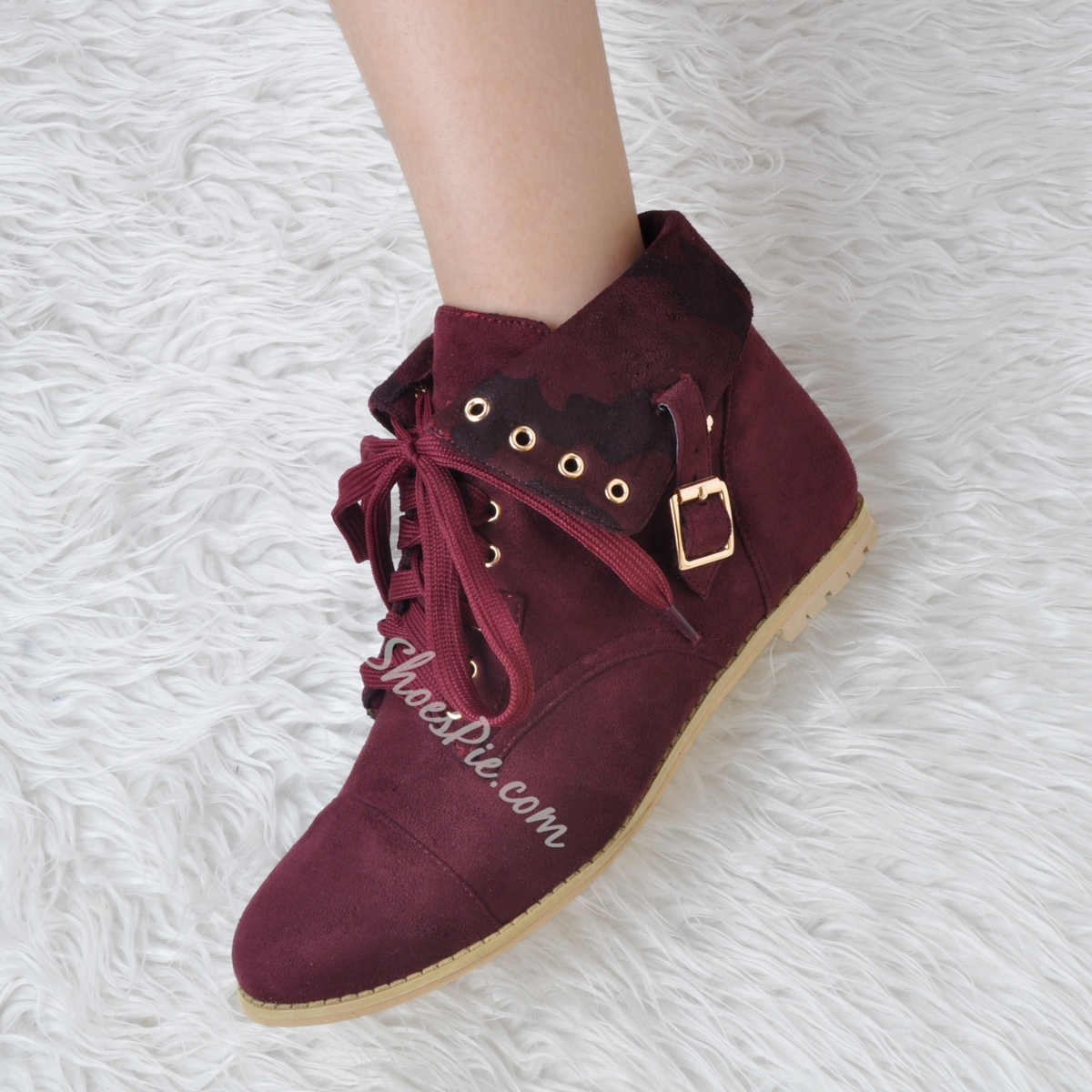 Shoespie Burgundy Buckles Lace Up Flat Boots